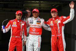 Ganador de la pole position Lewis Hamilton, segundo Kimi Raikkonen, tercer lugar Felipe Massa