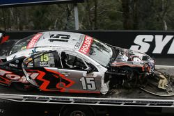The remains of car 15 after a heavy crash on the mountain