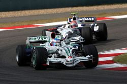 Jenson Button, Honda Racing F1 Team, RA108 leads Robert Kubica, BMW Sauber F1 Team, F1.08