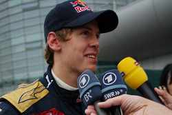 Sebastian Vettel gives an interview