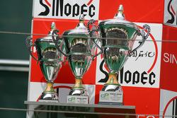 The GP2 trophies on the podium
