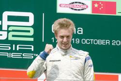 Davide Valsecchi celebrates his victory on the podium