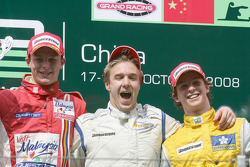 Davide Valsecchi celebrates his victory on the podium with Earl Bamber and Javier Villa