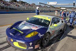 Pit stop for #73 Tafel Racing Ferrari F430 GT: Alex Figge, Harrison Brix, Pierre Ehert