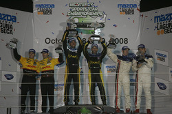 P2 podium: class winners Franck Montagny and Tony Kanaan, second place Gil de Ferran and Simon Pagenaud, third place Romain Dumas and Timo Bernhard