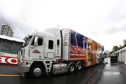 V8 supercars teams arrive on track in preparation for round 11
