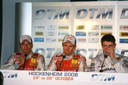 Post-qualifying press conference: Timo Scheider, Audi Sport Team Abt, Audi A4 DTM, Mattias Ekström, Audi Sport Team Abt Sportsline, Audi A4 DTM, Paul di Resta, Team HWA AMG Mercedes, AMG Mercedes C-Klasse