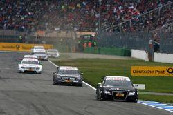 Timo Scheider, Audi Sport Team Abt, Audi A4 DTM, leads Paul di Resta, Team HWA AMG Mercedes, AMG Mercedes C-Klasse, Jamie Green, Team HWA AMG Mercedes, AMG Mercedes C-Klasse