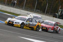 Oliver Jarvis, Audi Sport Team Phoenix, Audi A4 DTM leads Mike Rockenfeller, Audi Sport Team Rosberg