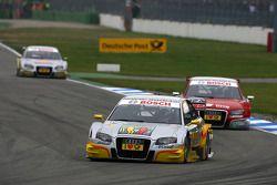 Oliver Jarvis, Audi Sport Team Phoenix, Audi A4 DTM, leads Mike Rockenfeller, Audi Sport Team Rosber