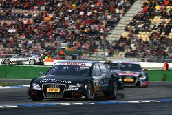 Timo Scheider, Audi Sport Team Abt, Audi A4 DTM, leads Mattias Ekström, Audi Sport Team Abt Sportsline, Audi A4 DTM