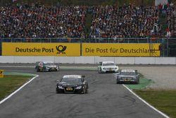 Timo Scheider, Audi Sport Team Abt, Audi A4 DTM leads Paul di Resta, Team HWA AMG Mercedes, AMG Mercedes C-Klasse and Jamie Green, Team HWA AMG Mercedes, AMG Mercedes C-Klasse