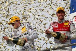 Championship podium: DTM champion 2008 Timo Scheider, runner-up Paul di Resta
