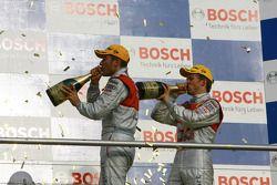 Championship podium: DTM champion 2008 Timo Scheider and Mattias Ekström