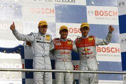 Championship podium: DTM champion 2008 Timo Scheider, runner-up Paul di Resta, third place Mattias E