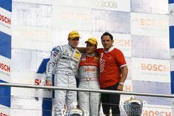 Championship podium: DTM champion 2008 Timo Scheider, runner-up Paul di Resta, Hans-Jürgen Abt, Team