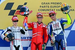 Podium: 1. Casey Stoner, 2. Dani Pedrosa, 3. Valentino Rossi