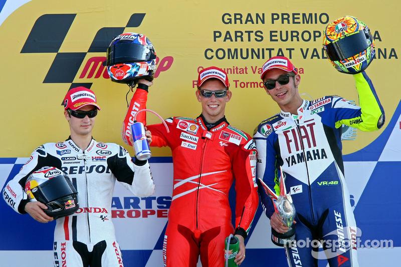 2008: 1. Casey Stoner, 2. Dani Pedrosa, 3. Valentino Rossi
