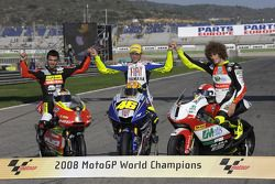 2008 MotoGP World Champions photoshoot: 125cc champion Mike Di Meglio, MotoGP champion Valentino Ros