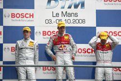 Podium: le vainqueur Mattias Ekström, le deuxième Paul di Resta, le troisième Alexandre Prémat