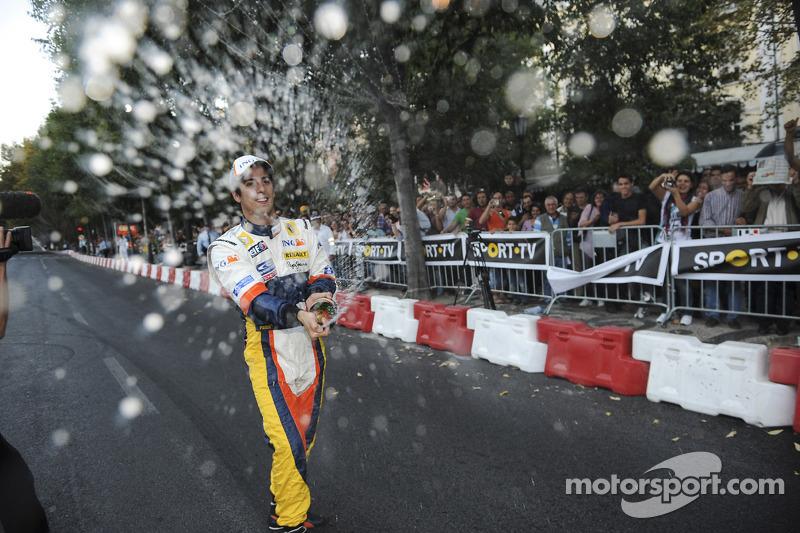 Lucas Di Grassi celebrates after the demo run