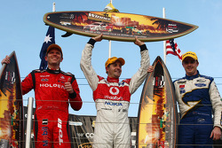 Podium: Jamie Whincup takes the victory with Garth Tander second and Mark Winterbottom third