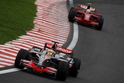 Lewis Hamilton, McLaren Mercedes, MP4-23 and Felipe Massa, Scuderia Ferrari, F2008