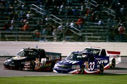 Ron Hornaday fights Kyle Busch for the lead