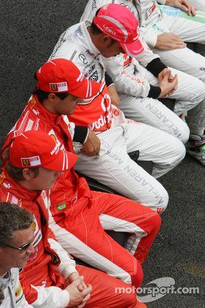 Lewis Hamilton, McLaren Mercedes and Felipe Massa, Scuderia Ferrari and Kimi Raikkonen, Scuderia Fer