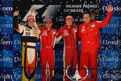 Podium: race winner Felipe Massa, second place Fernando Alonso, third place Kimi Raikkonen, and Scud