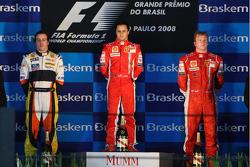 Podium: race winner Felipe Massa, second place Fernando Alonso, third place Kimi Raikkonen