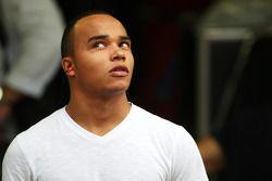 Nicholas Hamilton, Brother of Lewis Hamilton, McLaren Mercedes, checks for rain during the race