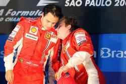 Podium: race winner Felipe Massa, third place Kimi Raikkonen