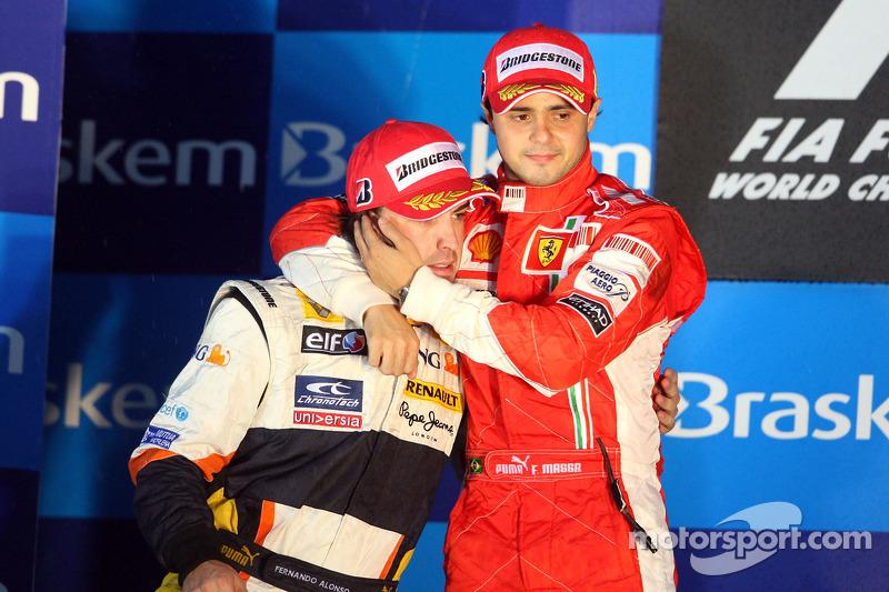 Podium: race winner Felipe Massa, second place Fernando Alonso