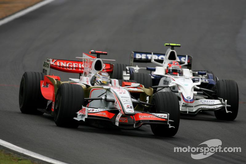 Adrian Sutil, Force India F1 Team, Robert Kubica, BMW Sauber F1 Team