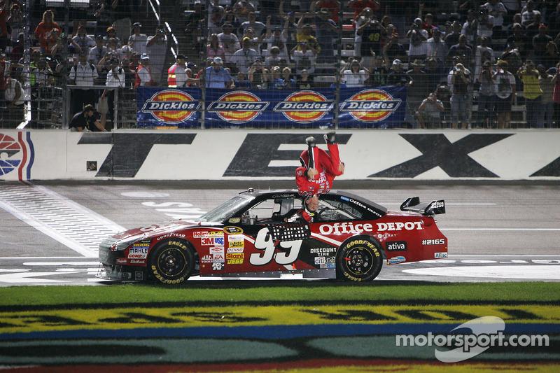 Race Winner Carl Edwards Celebrates At Texas Ii