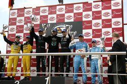GT1 podium: class and overall winners Andrea Bertolini and Michael Bartels, second place Mike Hezema
