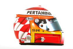 Satrio Hermanto, driver of A1 Team Indonesia helmet
