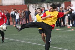 Neel Jani, driver of A1 Team Switzerland at the Chengdu Blades training ground for a friendly football match