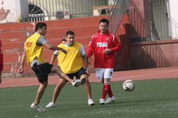 Arman Ebrahim, driver of A1 Team India at the Chengdu Blades training ground for a friendly football match