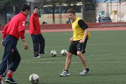 Marco Andretti, driver of A1 Team USA at the Chengdu Blades training ground for a friendly football