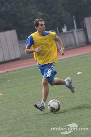 Nicolas Prost, driver of A1 Team France at the Chengdu Blades training ground for a friendly footbal