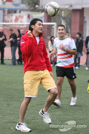Ho Pin Tung, driver of A1 Team China at the Chengdu Blades training ground for a friendly football m