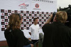Filipe Albuquerque, driver of A1 Team Portugal at the Chengdu Blades training ground for a friendly football match