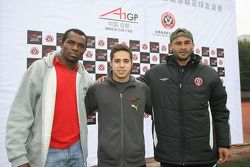 Rodrigues, Felipe Guimaraes, driver of A1 Team Brazil and Danielson at the Chengdu Blades training ground for a friendly football match