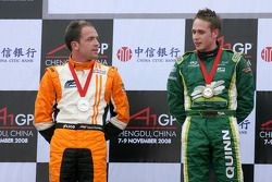 Podium: race winner Adam Carroll and second place Robert Doornbos