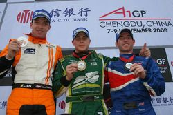 Podium: race winner Adam Carroll, second place Robert Doornbos, third place Danny Watts