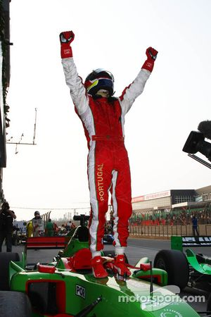 Race winner Filipe Albuquerque celebrates