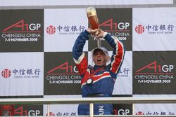 Podium: champagne for Danny Watts