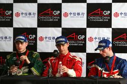 Press conference: race winner Filipe Albuquerque, second place Adam Carroll, third place Danny Watts